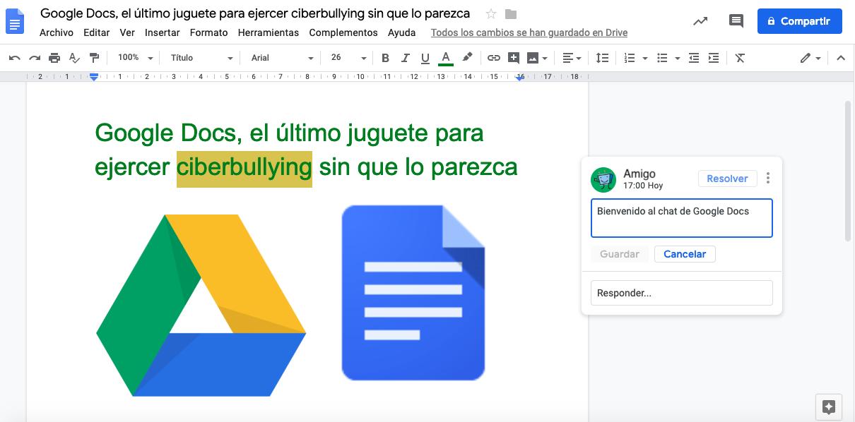 Google Docs está siendo utilizado para hacer ciberbullying